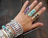 One Stunning Vintage look Tibetan silver plated adjustable ring 3 semi-precious stones /Tiger Eye/Howlite turquoise/Amethyst Boho ring