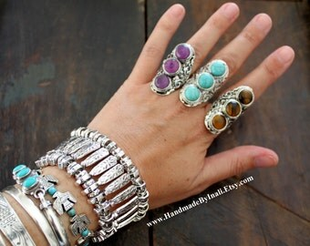 One Stunning Vintage look Tibetan silver plated adjustable ring 3 semi-precious stones /Tiger Eye/Howlite turquoise/Amethyst Boho ring