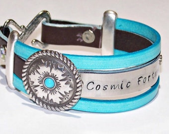 Cosmic Fortune or Personalize - Your Choice of Words - Metal Stamped Aqua and Brown Leather Bracelet  - Womens - Inspirational -Name -Phrase