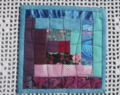 Quilted Fabric Log Cabin Coasters - Set of 4