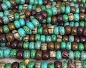 Gypsy Chic - Aged Striped 1/0 Czech Glass Rocaille Seed Bead Mix (40) 6.5mm Bohemian Earthy Tribal Rustic Picasso - Central Coast Charms