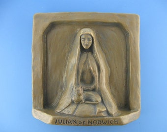 "Handmade Julian of Norwich Statue: Patron of Cats / ""All Shall Be Well"""
