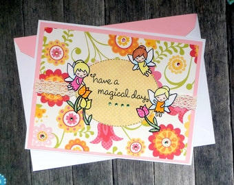 Happy Birthday Fairy Card - Magical Fairies Birthday Greeting Card - For Her Sister Best Friend Daughter Birthdays - Handmade Paper Card