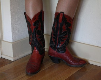 "1970s ""Dan Post"" Red and Black Cowgirl Boots"