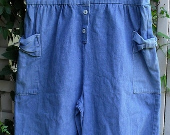 Retro Denim Rompers/ Washed, Faded, Blue Denim Rompers/ Vintage Rompers/ Shabbyfab Funwear