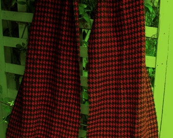 Houndstooth Scarf/ Cashmere and Silk Red and Black Check/ Retro Pashmina 72 by 12 Scarf Shabbyfab Funwear