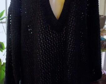 Vintage Oversized Sweater/Dark Navy/Open Weave Crochet Look/Cotton/Extra Long