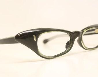 NOS Black Green cat eye glasses vintage cateye frames eyeglasses NOS