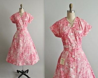 50's Unworn Shirtwaist Dress // Vintage 1950's Pink Floral Print Cotton Garden Party Dress Unworn Deadstock Tags NWT L
