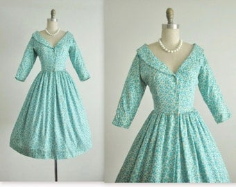50's Dress // Vintage 1950's Blue Floral  Print Silk Full Garden Cocktail Party Dress XS
