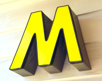 Vintage Marquee Sign Letter Capital 'M' / 'W': Large Yellow Wall Hanging Initial -- Industrial Neon Channel Advertising Salvage
