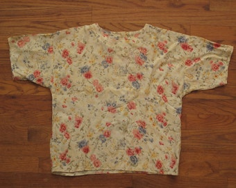 womens vintage floral rayon blouse
