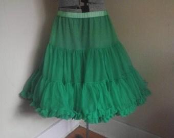 Vintage Green Petticoat Crinoline Small to Large Elastic waist.
