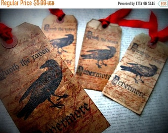 Edgar Allan Poe Inspired Hang Tags - Tea Dyed - set of 4 - Nevermore Raven