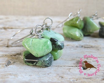 Chunky Green Chrysoprase Earrings, Long Boho Green Earrings, Rustic Green Chrysoprase Earrings, Raw Gemstone by MagpieMadness for Etsy