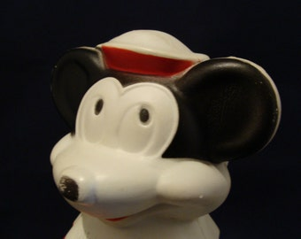 1966 Plastic Walt Disney Mickey Mouse Puppets Wheat Puffs Cereal Canister bank