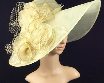 Champagne Gold Kentucky DerbyHat,Derby Hat,Church Dress Hat ,Bridal Wedding Hat,Tea Party Hat Ascot