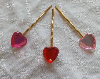 Heart rhinestone bobby hair pair - choice of three colors