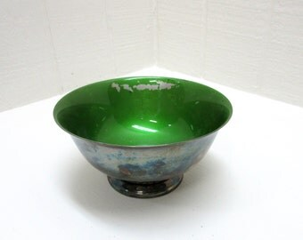 Vintage Reed & Barton #102 Green Enamel Pedestal Serving Bowl