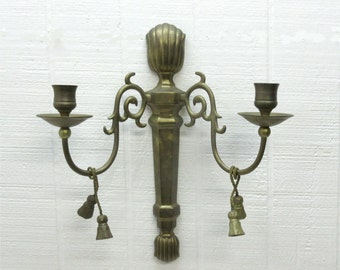 Vintage Brass Wall Sconce Brass Double Arm Candle Wall Sconce With Tassel