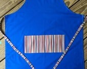 Adult apron, large apron, cooking apron, art smock, blue woth stripes