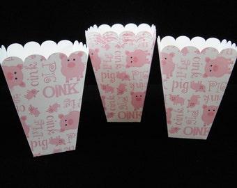 Cute Piggy Mini Popcorn Boxes, Treat Boxes, Birthday Parties, Party Favors, Paper Treat Box, Farm Party, Popcorn Box - Qty 8