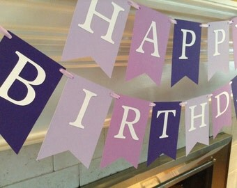 Happy Birthday banner, purple colors, ready to ship