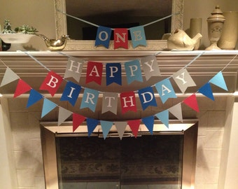 Happy Birthday banner, shades of blue colors, ready to ship