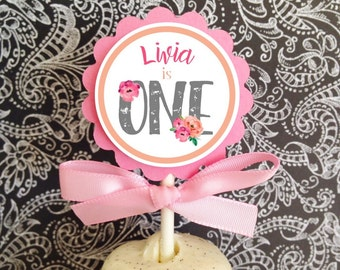 12 first birthday cupcake toppers, watercolor 1st birthday party toppers, floral 1st birthday cupcake toppers, pink gray first birthday