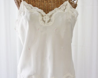Camisoles For Women Barbizon White Nylon Rayon Wide Lace New Old Stock 36 Bust