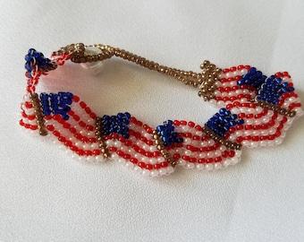 Beaded flag bracelet