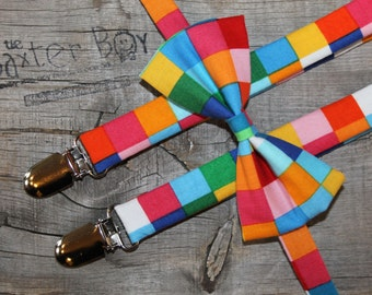 Ready-to-Ship --- SIZE MEDIUM Rainbow Squares bow tie and suspender set for little boys - photo prop, wedding, ring bearer, accessory