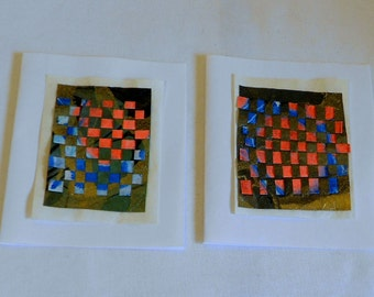 Small Gift Enclosure Cards or Business Thank You Notes-- Gold and Black Weave with Orange Moon PM-Weave