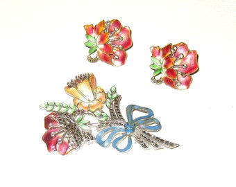 Vintage Sterling Enamel Marcasite Flower Brooch and Earrings