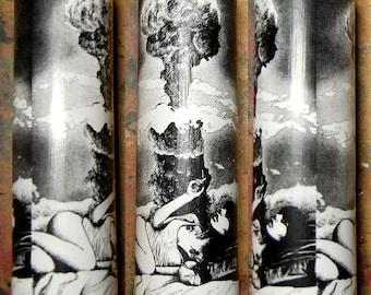 Prayer Candle - Black and White Atomic Apocalypse Art - Decorative Home Decor Functional Art Candle - Atomic Garden