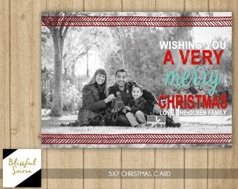 Photo Christmas Card | Merry Christmas Modern Tribal | Photo Holiday Card | Arrows | Christmas Card