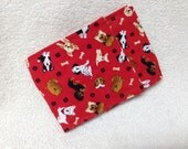 Male Dog Belly Band Diaper Pants Pet Wrap  Doggie Panties Cotton Tiny Tossed Red Pups Fabric Custom Sizes To 30 Inches