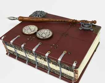 Unique Steampunk Leather Journal Hardback Artist Book