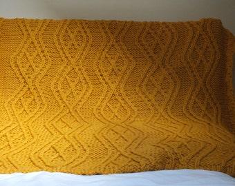 Blanket - chunky orange woolly blanket, hand knitted