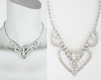 Vintage 50s Necklace / 1950s Scalloped Spade Rhinestone Choker