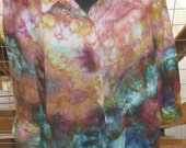 Tie Dye - Ice Dyed - Upcycled-Recycled - Button Up Linen Womens Shirt XL - Ready to Ship - Casual Shirt - 100% Linen - Multi Colored