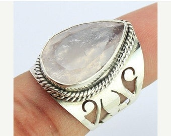 VALENTINE SALE 55% Rose Quartz Sterling Silver Ring 1668RG