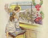 Christmas Eve Greeting Charming Embossed Vintage Christmas Postcard Children Watching Santa and Sleigh