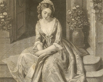 Young Victorian Woman Daydreaming on the Castle Steps Antique Engraving Suitable For Framing mid 1800s