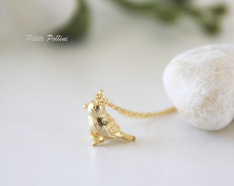 Sparrow Necklace in Matt Silver/ Gold. Bird Necklace. Cute and Sweet. Nature. Everyday Wear. Gift For Her (PNL-47)