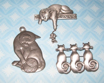 RESERVED FOR ANGELA Cat Brooch Pins Pendant Charming Kitties Metal Pewter 3 Vintage Feline Jewelry Cats