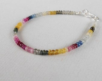 Genuine African multi color Sapphire  bead bracelet 24 CTS with silver 925 clasp / 7 inch
