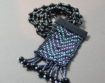 Necklace, Seed Bead Necklace, Handmade Necklace, Black Friendship Necklace, Loomed Necklace, Bead Loom Necklace