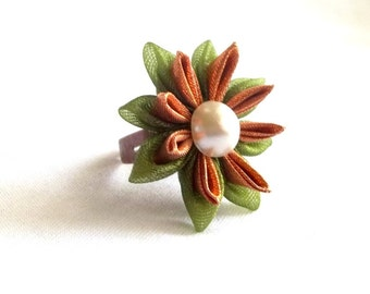 Green and Copper Water Lily 3d Statement Flower Adjustable Ring