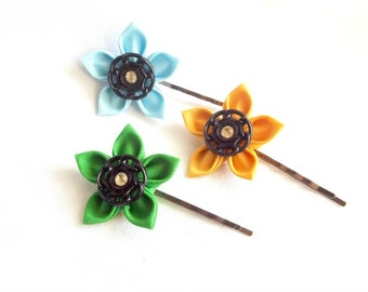 Unique Colorful Flower Hair Pins in Green Sky Blue and Yellow